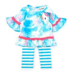 Rare Editions Baby Girls 18M Unicorn TieDye Outfit
